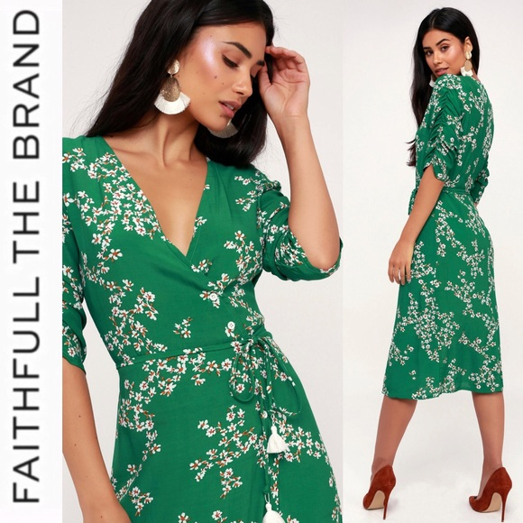 f74314edb199 Faithfull the Brand Dresses | Green Floral Wrap Dress | Poshmark